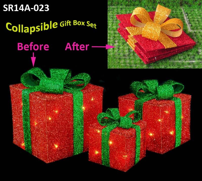 Lighted red collapsible gift box set of 3 with lights