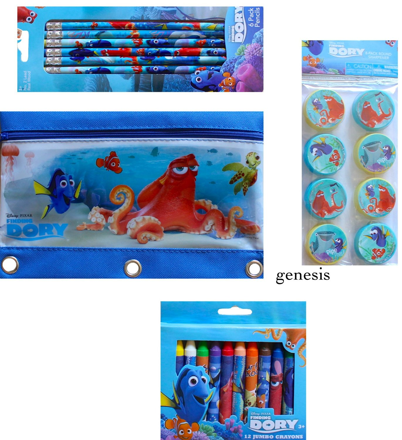 Disney Finding Dory 4 Pc Children's Creative School Supplies Value Pack Dory Pencils, Sharpeners, Pencil Bag & Dory Jumbo Crayons