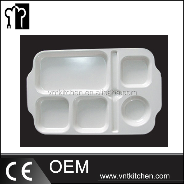 Custom design melamine dinner plate divided plastic snack tray