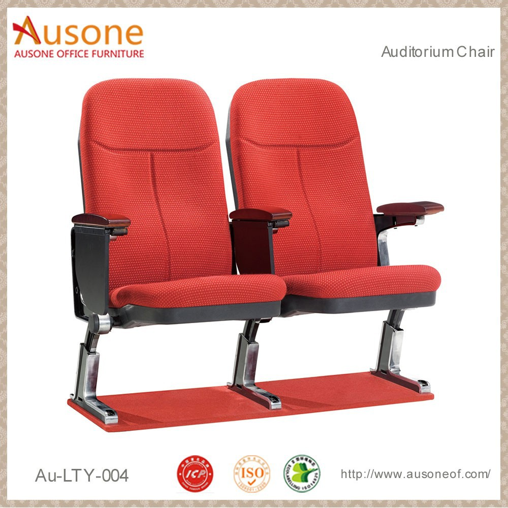 Steel Base English Movies Wood Church Chair Theater Seat