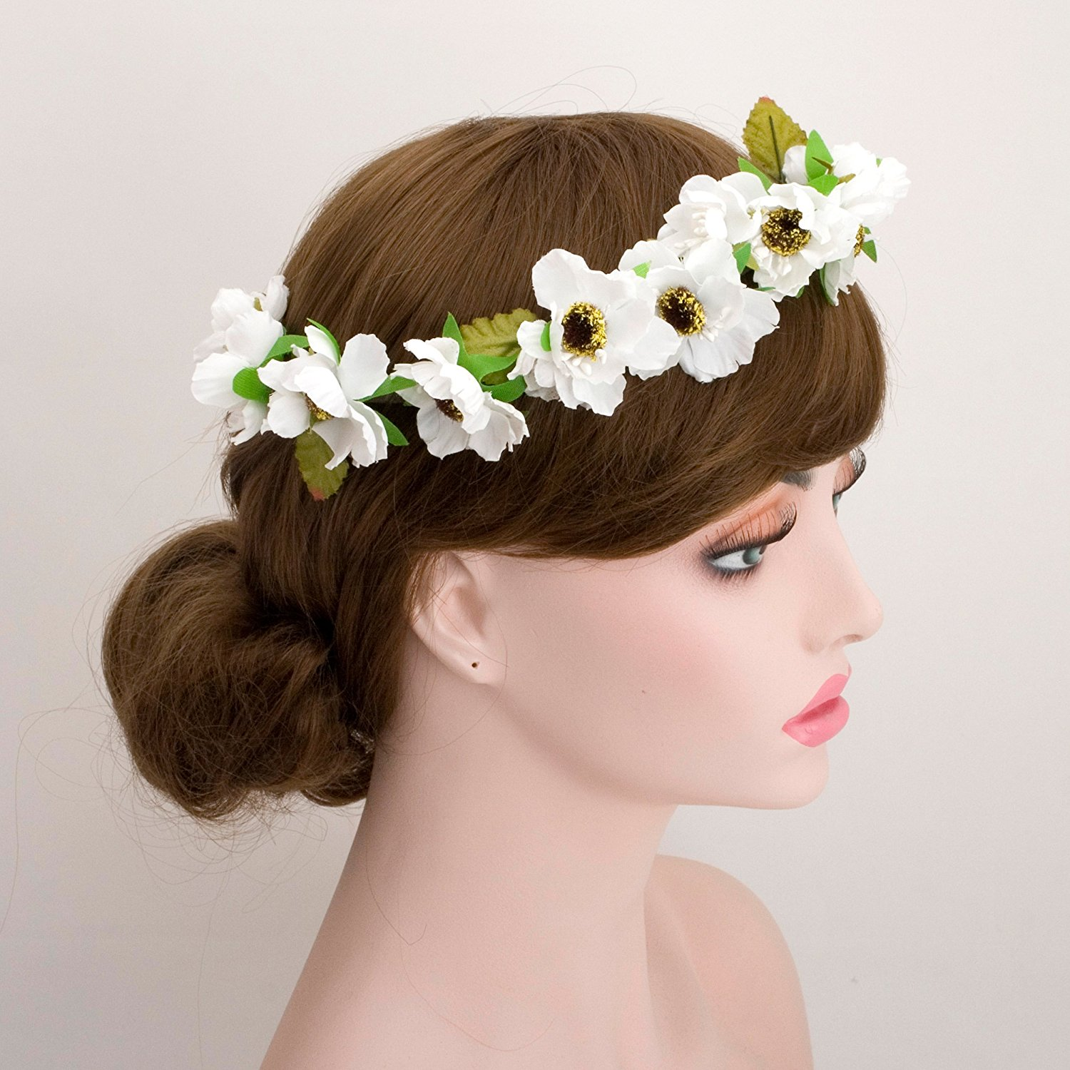 Buy Wedding Bride White Green Flower Head Wreath Wedding Bridal