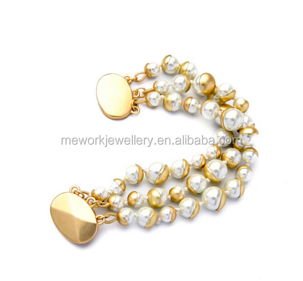 Fashion Three Lows Gold Pearl Bracelet Bulk With Magnetic Clasp For Women