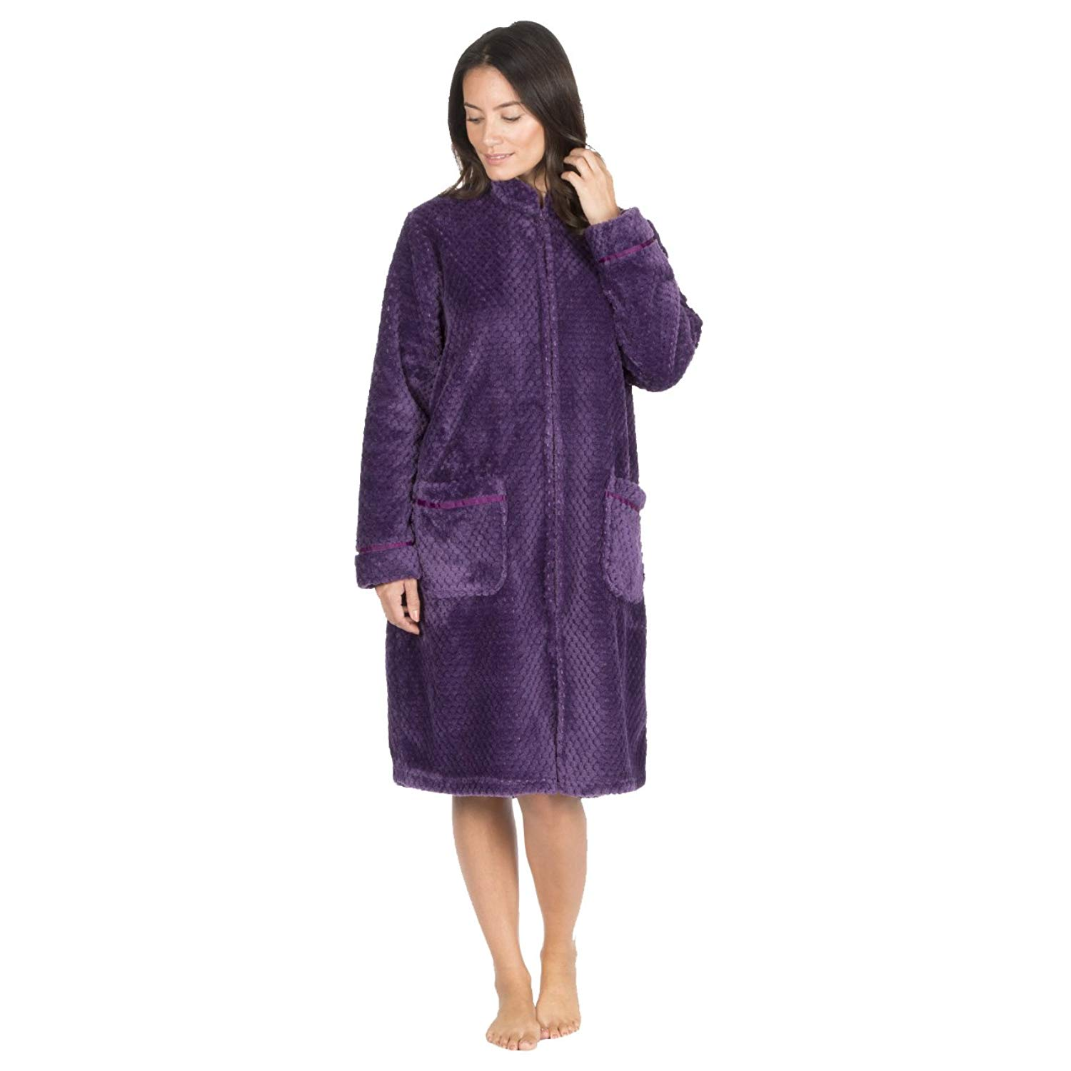 e6b35c9fdc Forever Dreaming Ladies Waffle Fleece Dressing Gown - Zip Up Fluffy  Housecoat