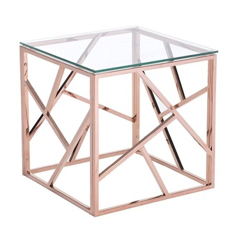 Custom Design Stainless Steel Rose Gold Plating Metal Square Gl Coffee Table Emble Side
