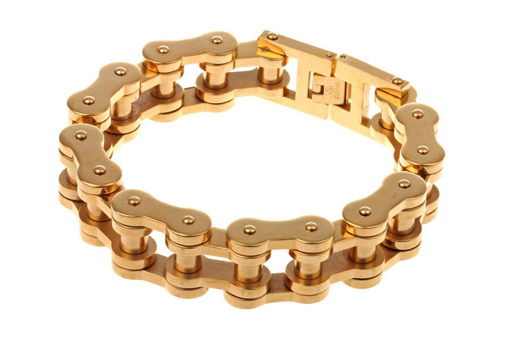 Get Quotations High Quality 18k Gold Plated Fashion Anium Jewelry Mens Bike Chain Bracelets Bangles Pulseira Masculina