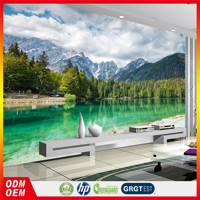 mountain and forest tree nature self adhesive pvc murals bedroom lake wallpaper