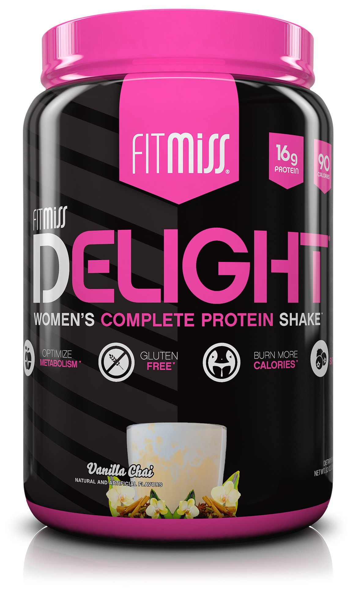 FitMiss Delight Protein Powder- Healthy Nutritional Shake for Women with Whey Protein, Fruits, Vegetables and Digestive Enzymes to Support Weight Loss and Lean Muscle Mass, Vanilla Chai, 2 Pound