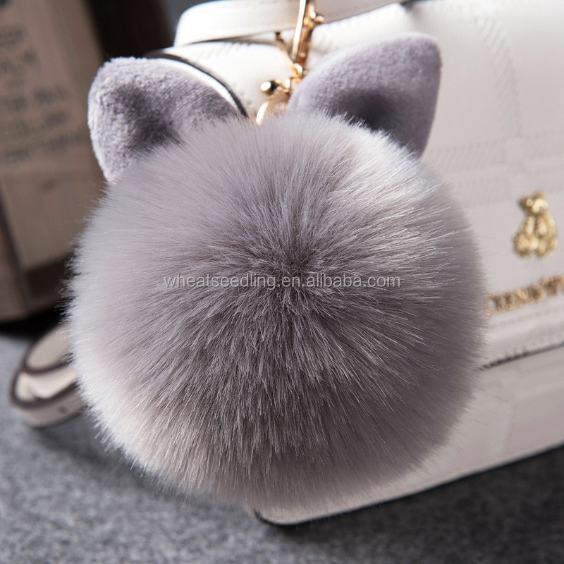 Fake fox rabbit fur ball wool decorative bunny ears hang creative mobile phone bag accessories car key chain