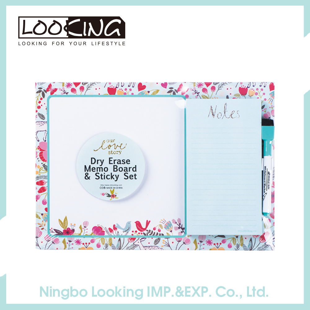 LOOKING Dry Erase Board and Memo Pads Combo Set