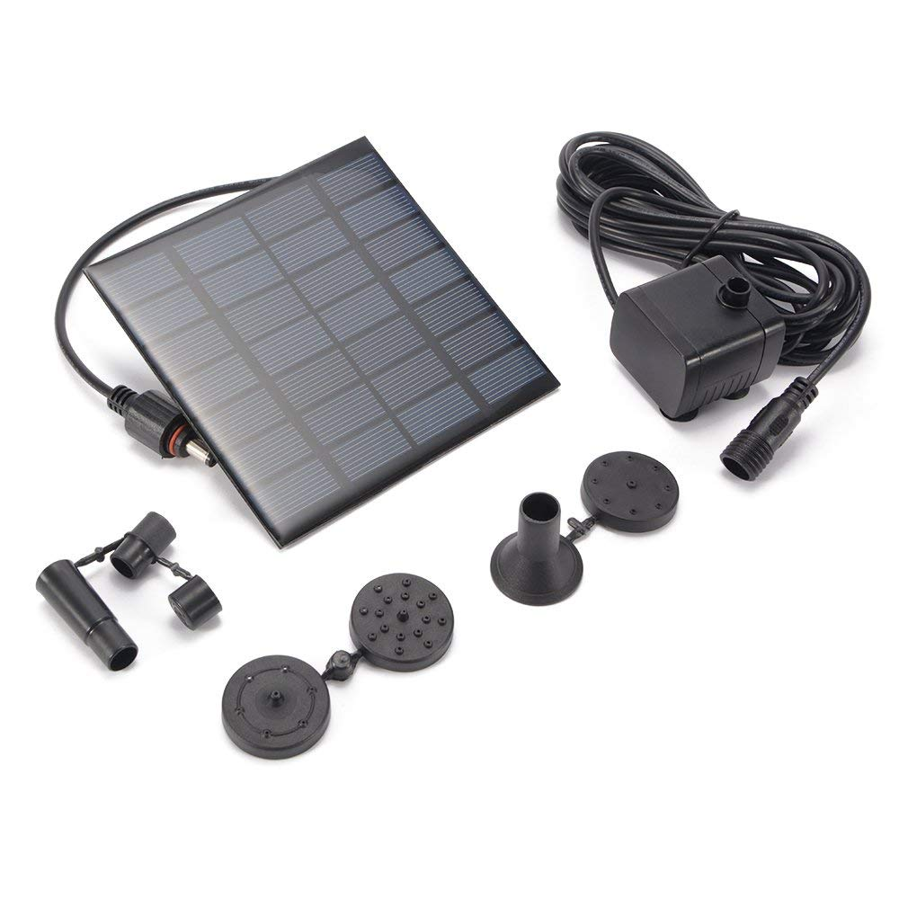 Kreema Outdoor Solar Power Water Pump Panel Kit 1.2W 180L/H Submersible Fountain Pool Garden Pond Patio