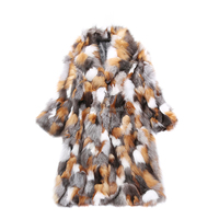 Women Luxury Fashion Genuine red Fox and silver fox Fur Long coat In The Long Section Coat