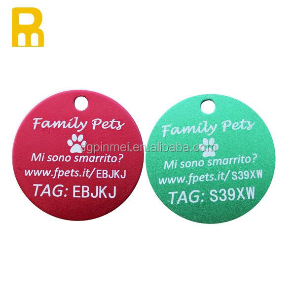Round Custom LOGO Anodized aluminum QR code laser dog tags/pet ID tags