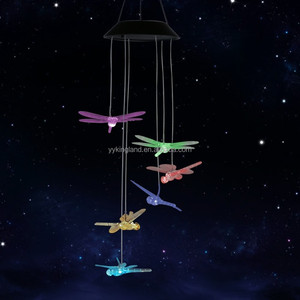 Color Changing Windlights Solar Powered LED dragonfly Wind Chimes Hanging lamp for Garden dragonfly solar lights