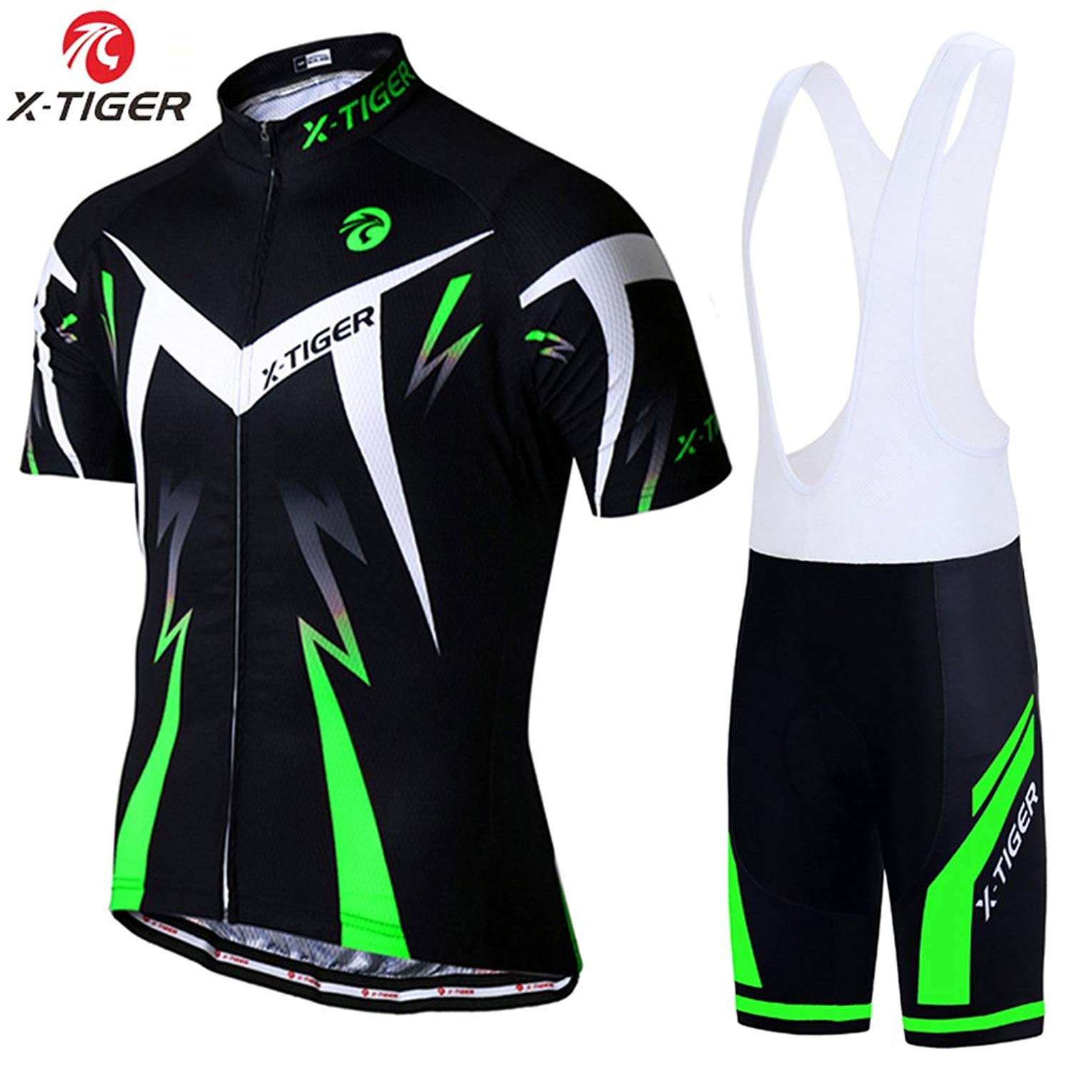 Get Quotations · X-TIGER Men s Cycling Jersey Set Short Sleeve Biking with  5D Gel Padded Shorts MTB f0ce4548e