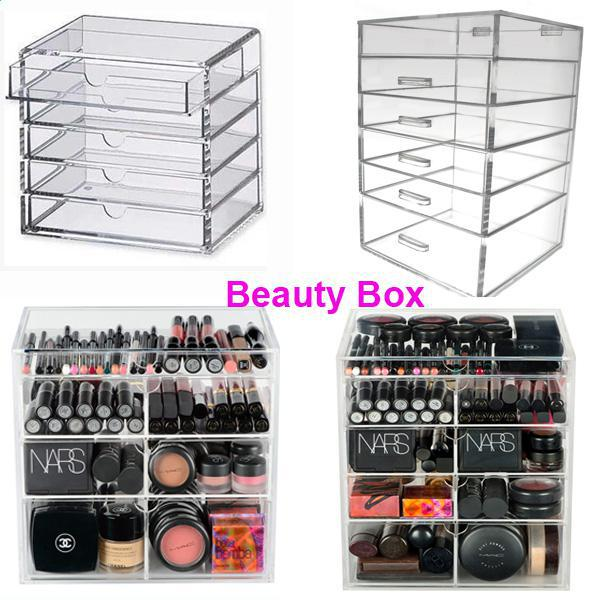 Clear Acrylic Cosmetic Makeup Organizer Drawer Beauty Storage With Lid Display