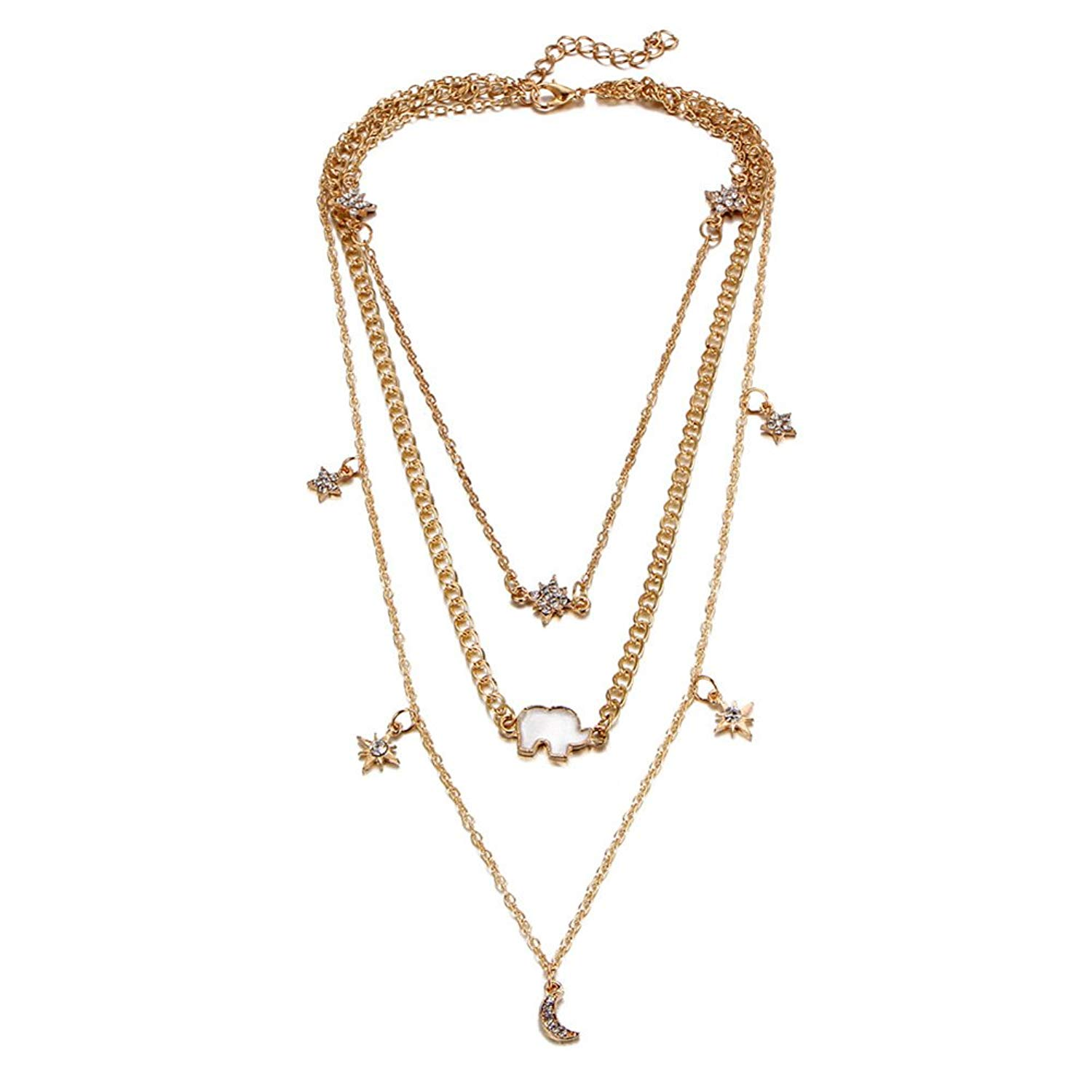 PORPI-JOJO Multi-layer Three Chain Necklace Moon Star and Elephant Lucky Pendant Summer Beach Jewelry Gold Plated