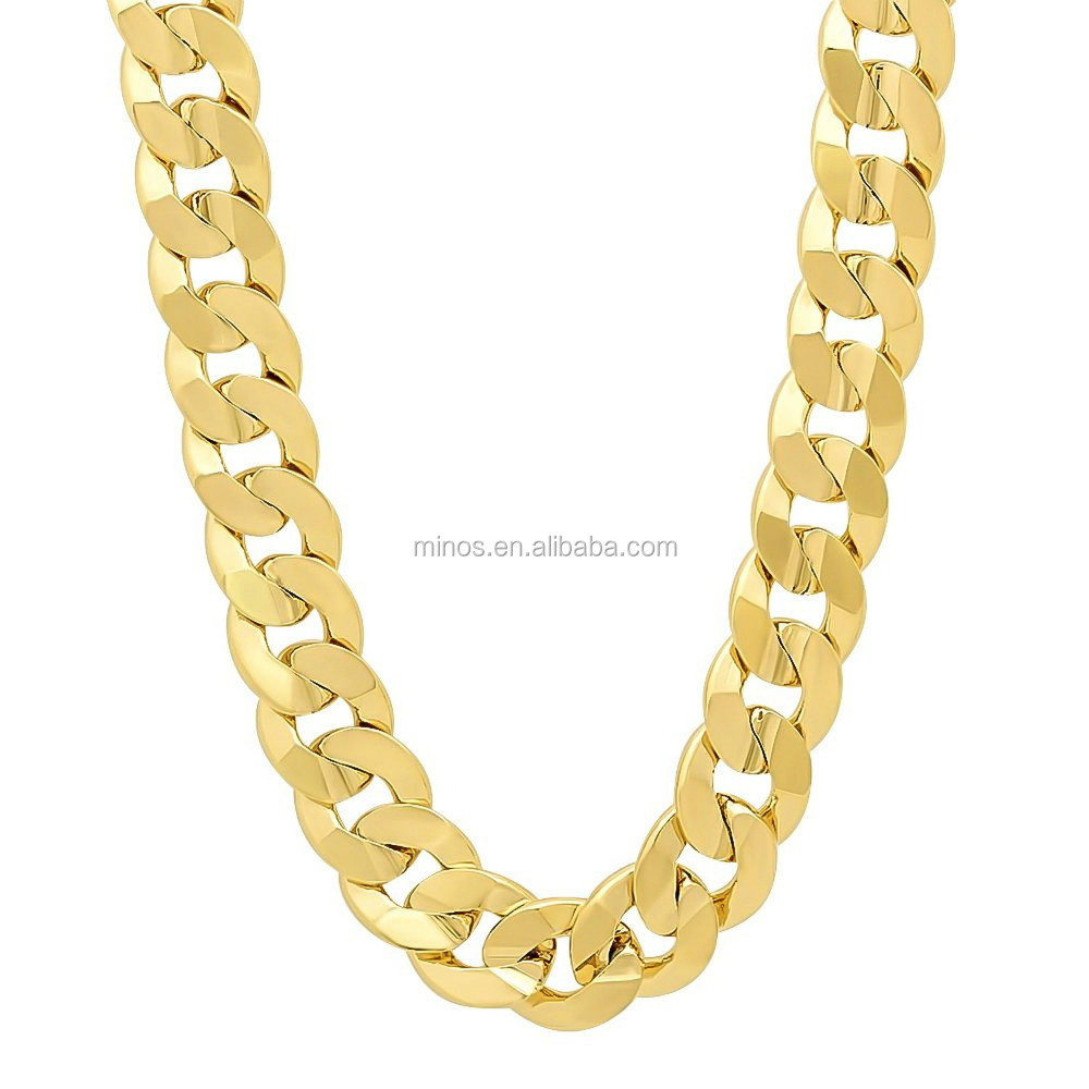 steel cuban heavy chain solid stainless link yellow gold amazon chains com finish dp miami