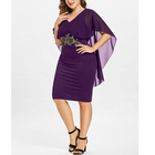High Quality plus size chiffon embroider evening dress for fat women