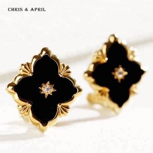latest Europe clover gold plated stud earrings