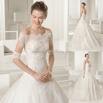 Famous Designer 2017 Lace Ball Gown Wedding Dress With Off Shoulder 1 2 Sleeve