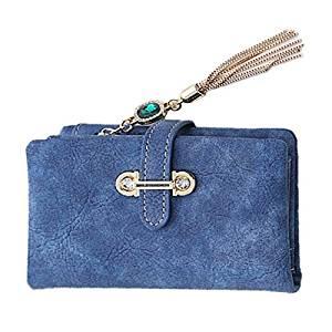 Women Short Wallet - TOOGOO(R)2016 New Fashion Women Wallets Drawstring Nubuck Leather Zipper Wallet Women's Short Design Purse Retro Tassels Clutch(Dark Blue)