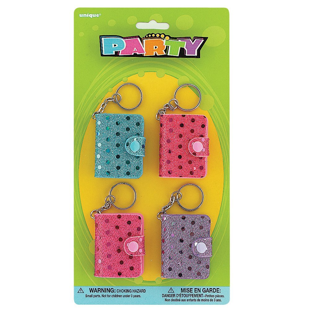 Mini Sequin Notebook Keychain Party Favors, 4ct