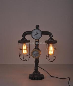 Vintage Table Lamp Decorative Antique Pipe Edison Bulb Table Lamp ...