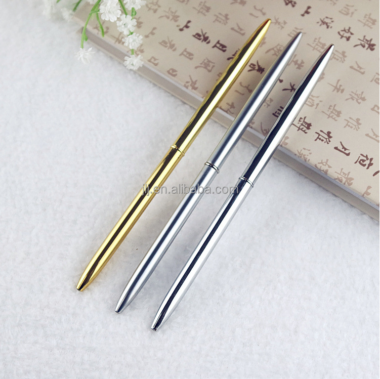 Gold and silver thin gift pen custom metal ball-point pen rotation