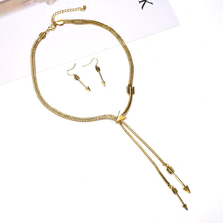 Vintage Creative Double Layers Arrow Earring Necklace Jewelry Set for women