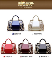 2017 newest style fashional good quality embroider PU leather ladies shoulder handbags, Pu leather designer wholesale handbag