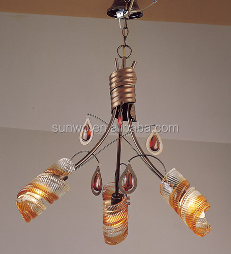 European classical brass pendant lamp with spiral lampshade