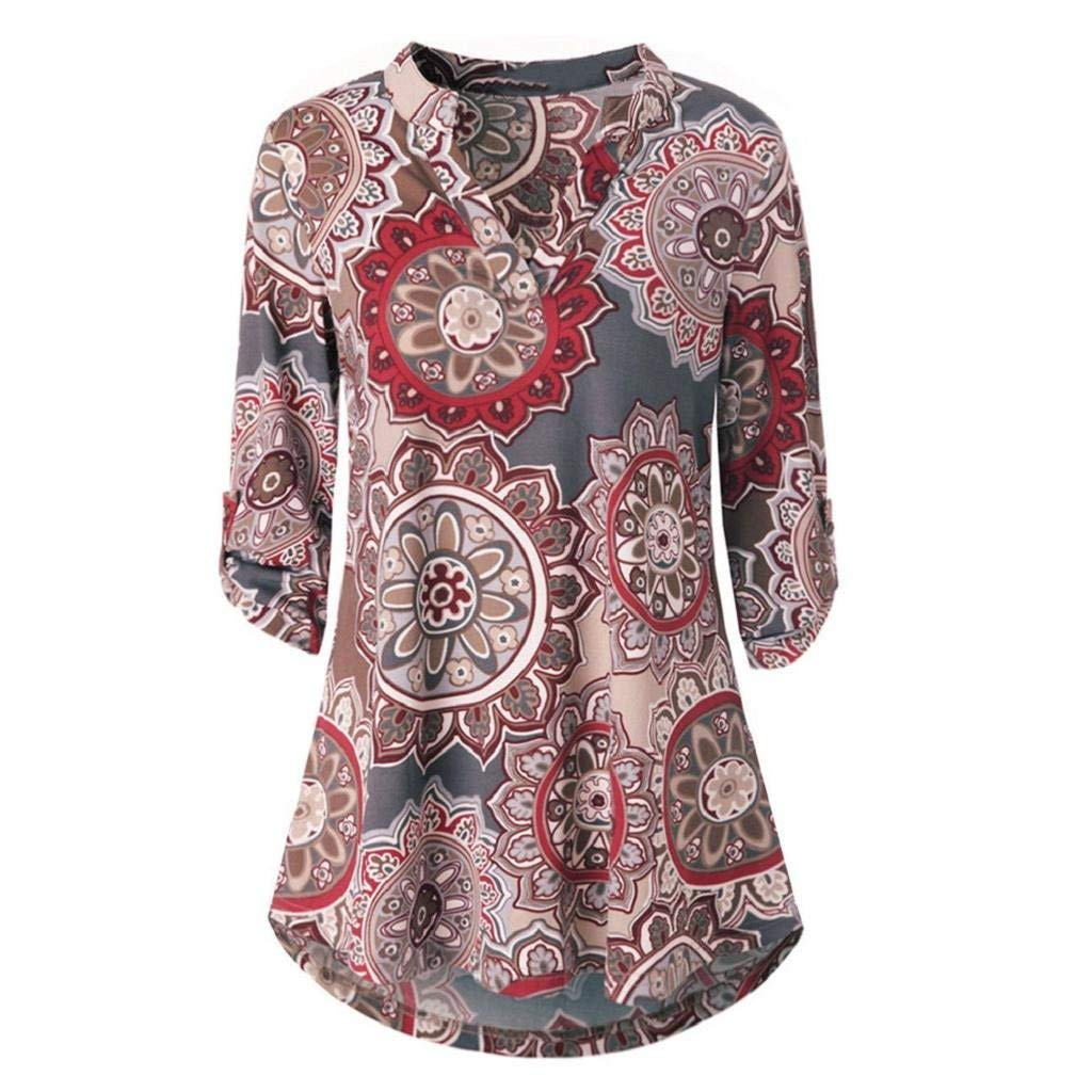 702a2f6d0f29d2 Get Quotations · Doinshop Womens Floral Printed Tunic Shirts 3/4 Roll Sleeve  Button Layered Notch Neck Blouse