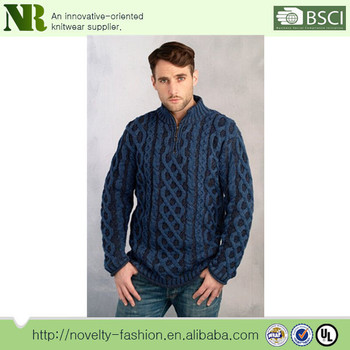 Fashion Cable Knitted Sweater Mens Cotton Knit Pullover Sweater