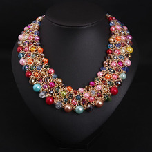 wholesale artificial diamond jewellery Fashion newest Colorful pearl beads statement necklace