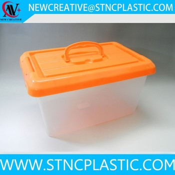 8L Small Clear Plastic Storage Box Storage Container With Handle And Lid