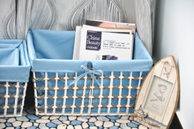 Beautiful Blue Woven Baskets For Storage Sundries