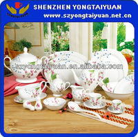 Elegence half decal ceramic dining table set Chinaware