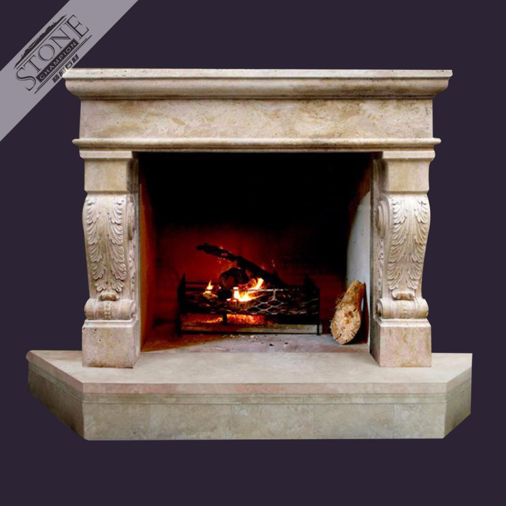 Stone Fireplace Surround Design American style limestone fireplace mantel with big hearth