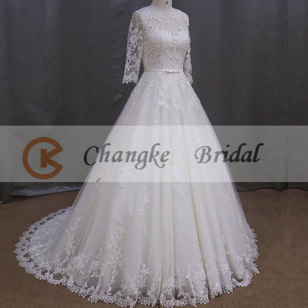 Appliqued Lace Wedding Dress Muslim Wedding Gowns With Long Sleeves ...