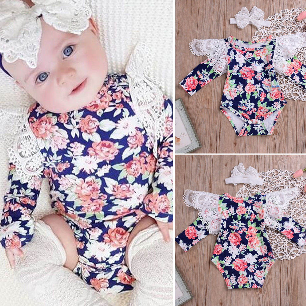 86e00804b New Born Baby Girl Romper Clothes 2018 Infant Baby Romper Girls Floral  Headband Ruffle Jumpsuit Outfits Clothes Roupa Menina #0