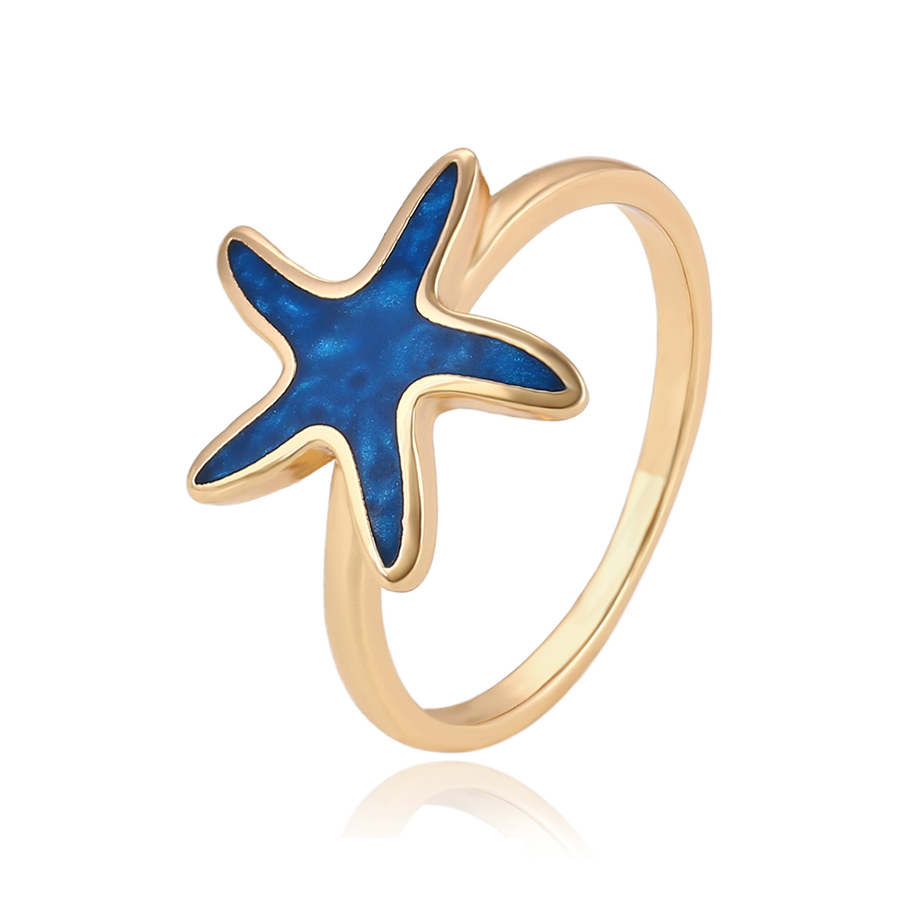 14058 Best selling high quality cute style women jewelry starfish shape simple design gold finger ring фото