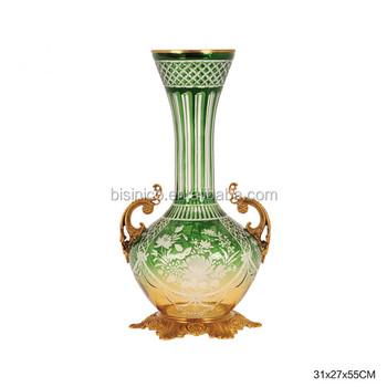 Elegant Green Crackle Enamel Glass Flower Vasedecorative Colored