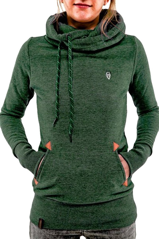 Ilishop Women's Trendy Solid Funnel Neck Pullover Hoodie Sweatshirt Hoodie