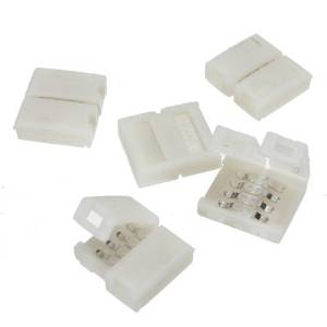 5pcs Pack 10mm 4-conductor Quick Splitter LED Strip Connector (Strip to Strip) for RGB Color-changing LED Strip Lights