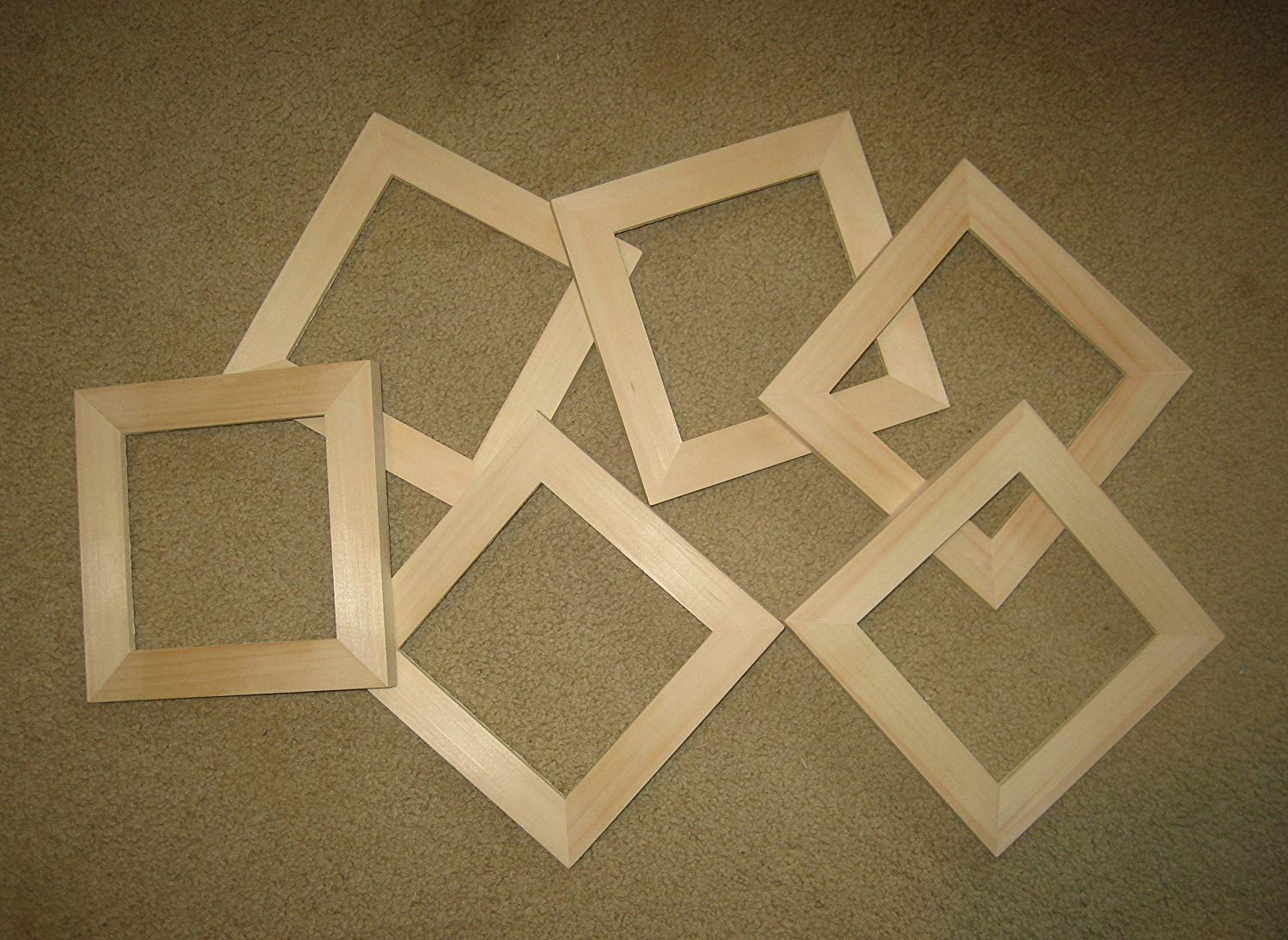 "Unfinished wood picture frames in lots of 6 in 1½"" wide moulding, 4x6's to 16x20's"