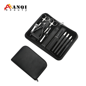 HOT SALE FREE SAMPLE 10 Pieces Hotel Stainless Steel Manicure nail cutter set with Leather packing