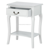 Lastest bedroom furniture designs wood white single drawer bedside table