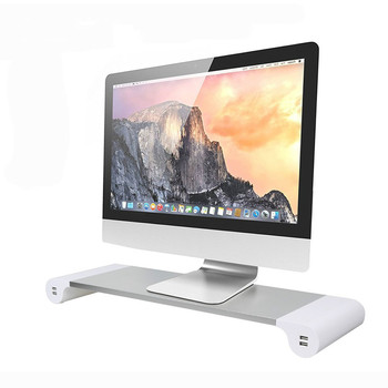 2019 Trending Products Dual Monitor Desktop Stands With 4 USB Charging Aluminum Laptop Monitor Riser Stand for Macbook
