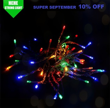 Super September 10% Off 100 leds 10 mt batterie betriebene wasserdichte mini led-lampe string licht schwarz licht solar string lichter