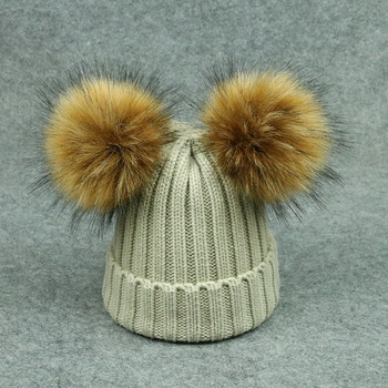 High quality winter knit hat with raccoon fur ball on the top Fax fur pom  pom fc87e688469